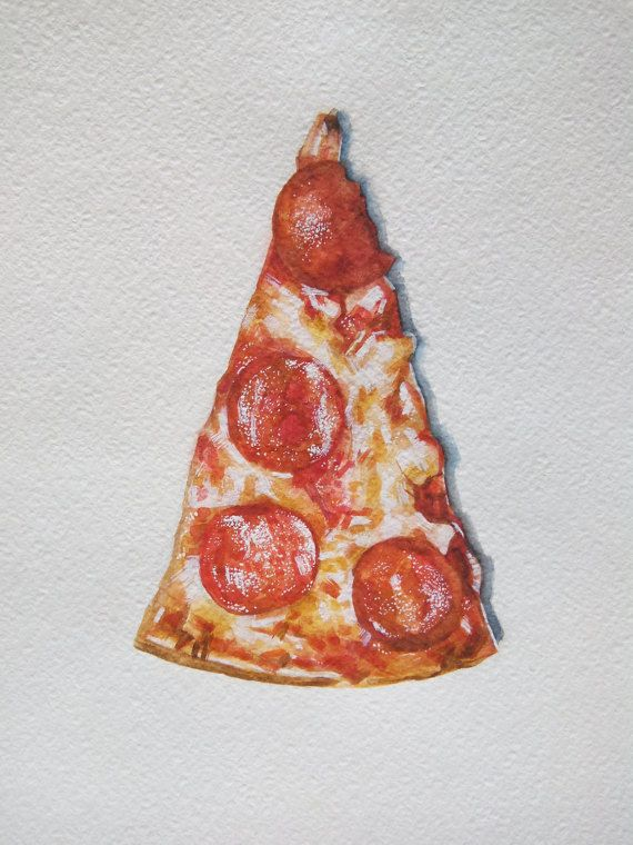Pizza Watercolor Gouache Illustration Food Illustration by Ksushop