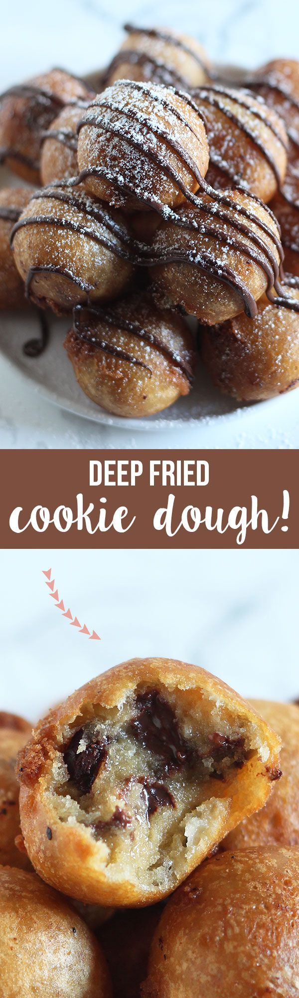 OMG possibly the BESt thing I've ever eaten! Deep Fried Cookie Dough made with homemade chocolate chip cookie dough, dipped in batter, and fried to golden crispy perfection! http://www.thisreviewer.com/