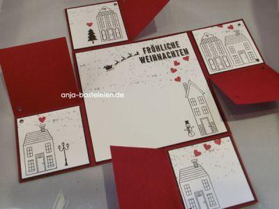 """Faltkarte mit """"Aus dem Häuschen"""""""