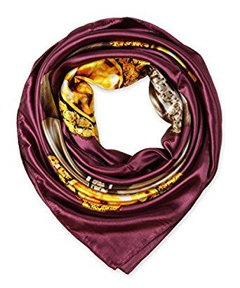 "corciova Elegant Women's Neckerchief Silk Feeling Satin Square Scarf Wrap 35"" Pansy Purple $9.99 Free Shipping"
