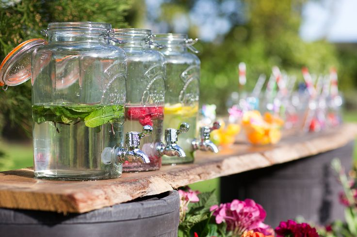 Barrels look great planted with flowers during the Summer but if you're throwing a backyard bash, here's another way to use them!