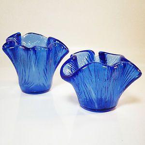 Glas Vase • Teelichthalter • Hadeland / Norwegen / Norway • 2 Stück • org. Label
