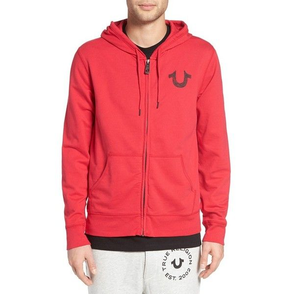 Men's True Religion Brand Jeans Zip Hoodie (225 CAD) ❤ liked on Polyvore featuring men's fashion, men's clothing, men's hoodies, ruby red, mens zipper hoodies, mens cotton hoodie, mens patterned hoodies, mens zip up hoodies and mens cotton hoodies