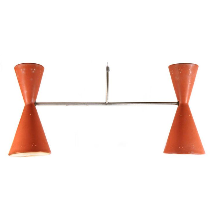 American Dual Cone Pendant Ceiling Light | From a unique collection of antique and modern chandeliers and pendants  at https://www.1stdibs.com/furniture/lighting/chandeliers-pendant-lights/