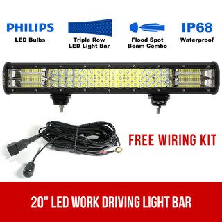 """20"""" LED Work Driving Light Bar Philips FLOOD SPOT COMBO Offroad 4WD 3 Rows"""