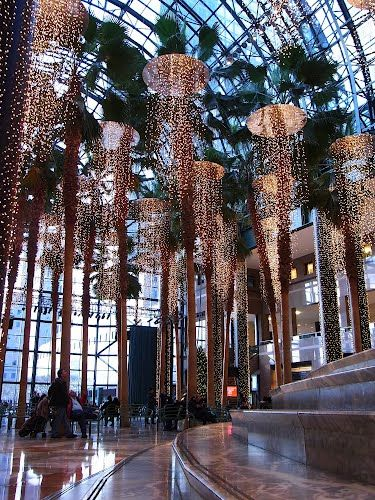 Winter Garden Atrium, Battery Park City, NYC ~ Magical Christmas lights.