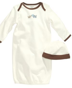 Little Me Baby Set, Baby Boys 2-Piece Cute Puppies Gown and Hat - White 0-3 months