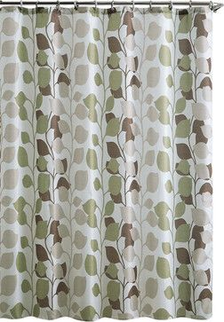 """Shower Curtain- Sydney Brown/ Green Embossed Microfiber - 72""""x 72"""" - transitional - Shower Curtains - Luxury Bath Collection"""