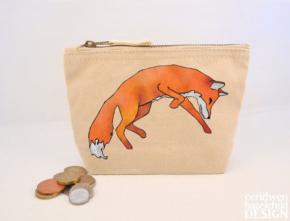 Fox Leaping Canvas Zip Purse Makeup Bag Coin Purse Small Accessory Pouch by ceridwenDESIGN http://ift.tt/1Uibv3Q