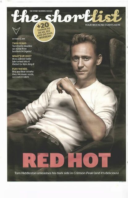 Tom Hiddleston. Photo by Matthias Vriens-McGrath, This is a scan of the hard copy front page of the Sydney Morning Herald Section, The shortlist. The article is online. http://tiggysworld.tumblr.com/post/130789701204/tom-hiddleston-photo-by-matthias-vriens-mcgrath