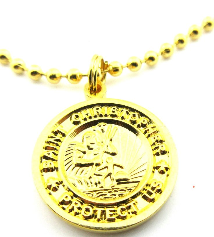 "Saint Christopher Surf Medal Pendant Necklace,24K Gold Plated,Medium G/G. 24 K Gold Plated St Christopher,Patron of Travel original design. Traditional brilliant hand enamel coloring. 24"" Adjustable ball chain included. Crisp tooling ensures crystal clear lettering and detailed center. 3/4"" dime size medal."
