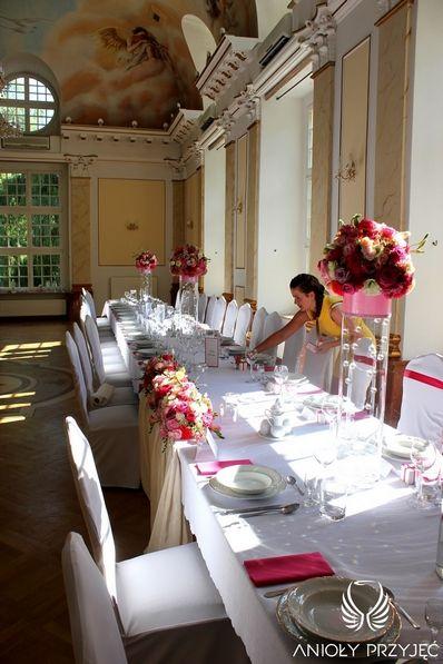 2. Pink Wedding,Centerpieces / Różowe wesele,Dekoracja stołu,Anioły Przyjęć
