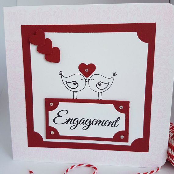 Love Birds Engagement Card Handmade EG01