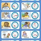 This set of 10 dominoes illustrates daily routine activities and the 12-hour clock in French. Print back to back, laminate