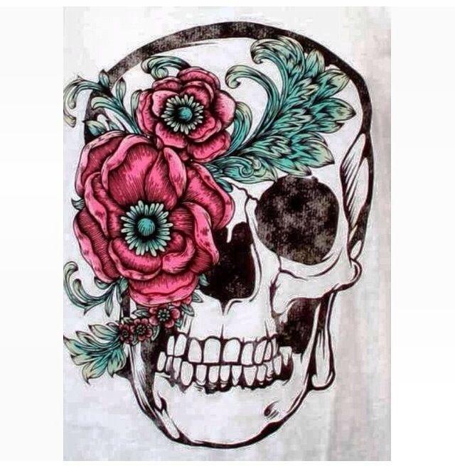 Skull flower tattoo idea tattoos pinterest flower for Skull and flowers tattoos