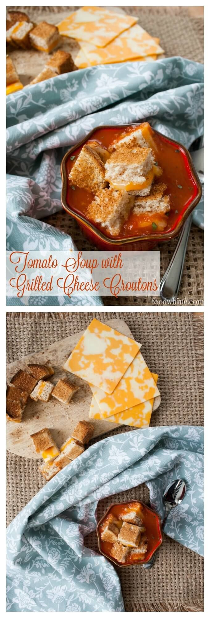 Easy Tomato Soup with Grilled Cheese Croutons. A simple recipe for lunch or dinner. Comfort food at its finest.