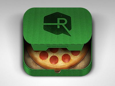 Pizza app icon, by Ryan Ford on Dribbble.