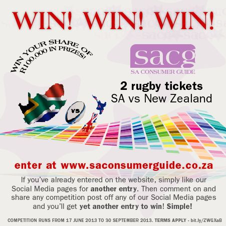 Win 2 Rugby tickets for the SA vs New Zealand Game - enter at www.saconsumerguide.co.za then like and share the Facebook posts too - It's FREE and EASY to win!!