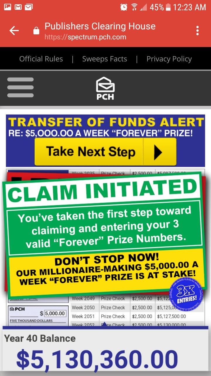 PCH TRANSFER OF FUNDS ALERT I RRojas now claim my ownership