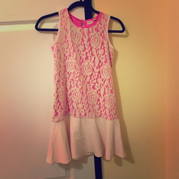 """Designer dress. """"Baker by Ted Baker"""" Flowery rose design on the dress. Inside is pink. The bottom cream colored part is silky and the flower designed area is more lace. Ted Baker Dresses"""