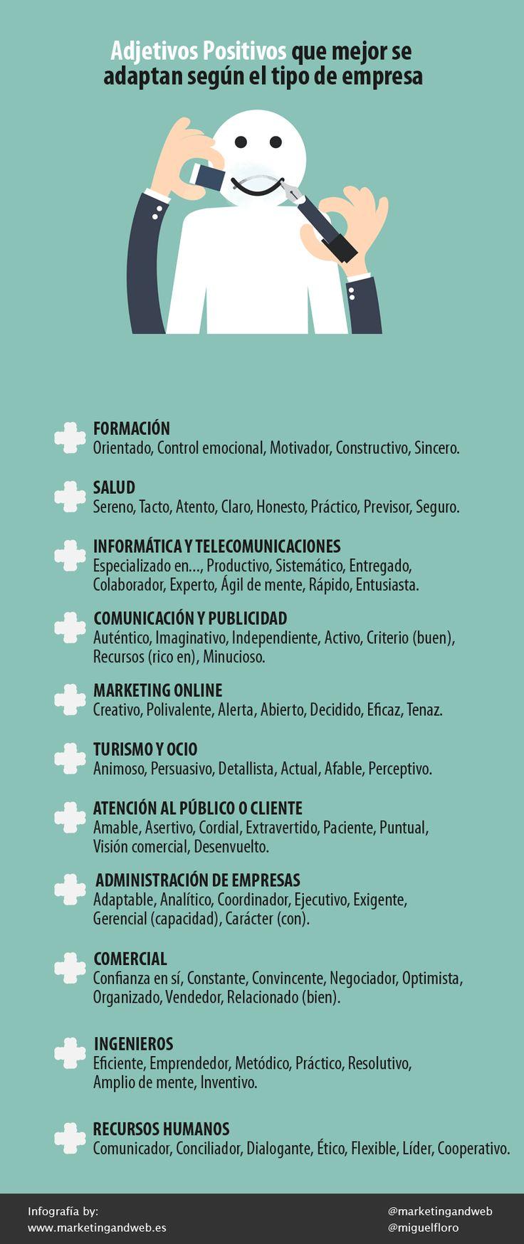 Hola: Una infografía sobreAdjetivos positivos que mejor se adaptan según el tipo de empresa. Vía Un saludo