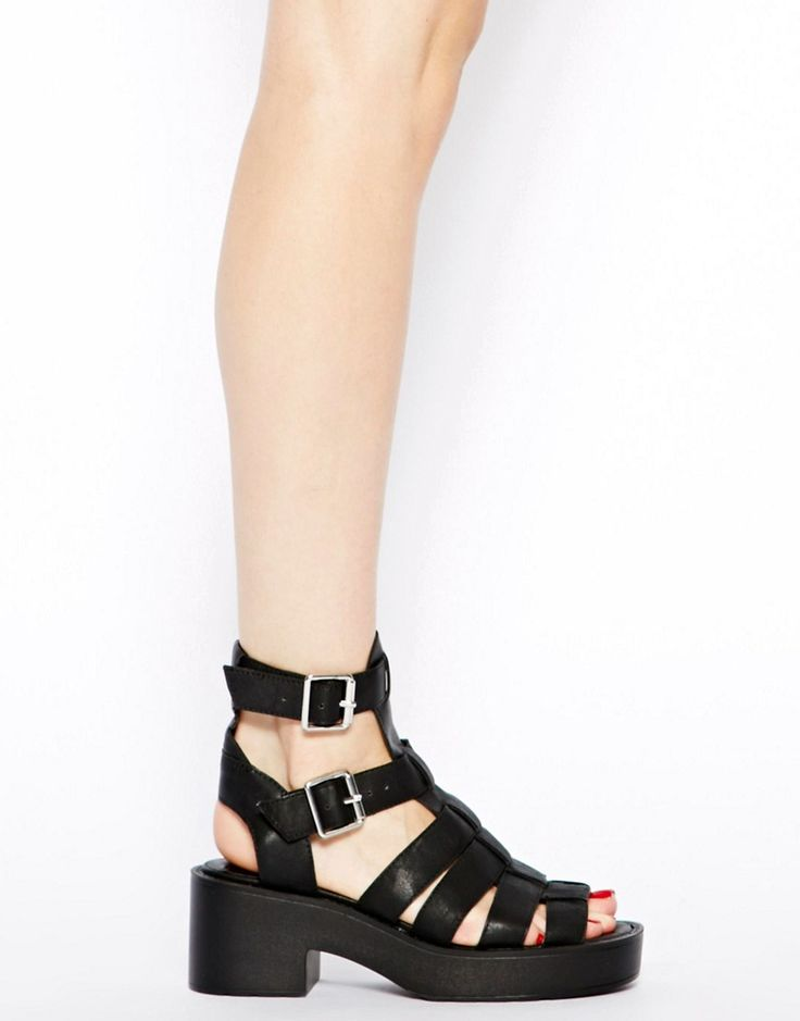 Image 4 of River Island Black Chunky Low Heeled Gladiator Sandals