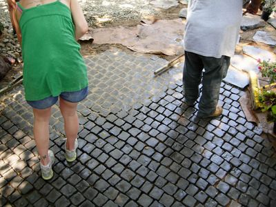 How to Install a Cobblestone Patio on Concrete or Bare Soil : How-To : DIY Network