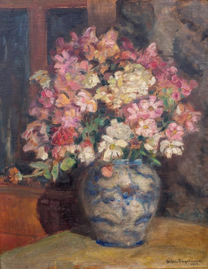 Stefan Filipkiewicz: Kwiaty w wazonie, 1928 r. olej, sklejka, 62 × 48,5 cm sygn. i dat. p.d.: Stefan Filipkiewicz/1928