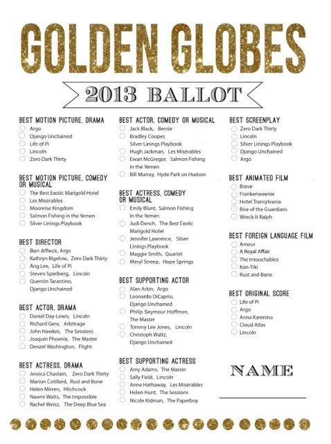 GOLDEN GLOBES 2013 PRINTABLE BALLOT