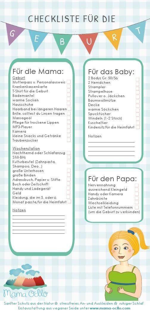 Vorbereitung auf die Geburt ☆ Checkliste ☆ Kliniktasche für Mama, Papa u. Baby ☆ Liste zum abhaken ☆ Video als Inspiration ☆ Jetzt informieren!