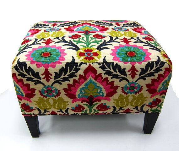 Ikat Fabric Upholstered Bench by slgeorge on Etsy, $445.00