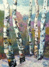 Winter Birches 16x20 Acrylic on Board by Rainer Pitsch