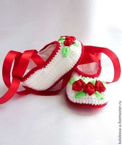 """Для новорожденных, ручной работы. Ярмарка Мастеров - ручная работа Пинетки """"Аленький цветочек"""". Handmade."""