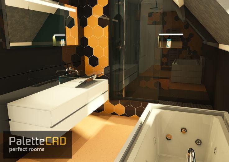 Salle de bain moderne avec éléments sanitaire de fabricants. Visualisation à 360° avec notre application Palettemove (disponible sur androïde et appstore).  www.palettecad.fr