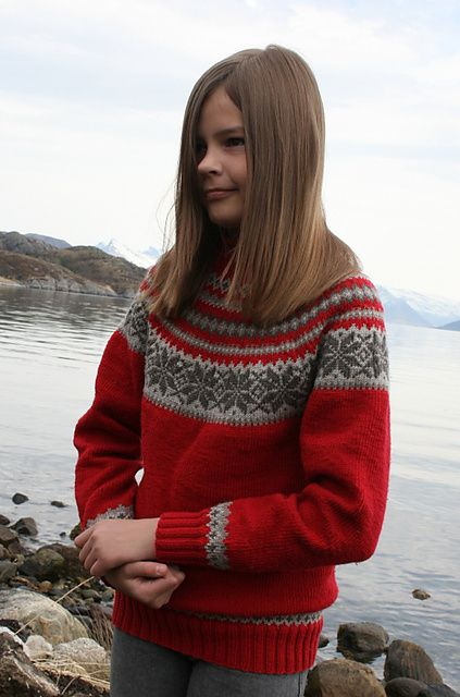 Ravelry: 0611-20 Sweater with Round Yoke pattern by Sandnes Design ~ FREE pattern