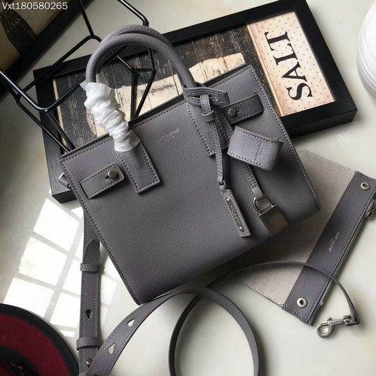 YSL Spring Summer 2017-Saint Laurent Nano Sac De Jour Souple Bag in Grey  Grained Leather 52332f791b42d