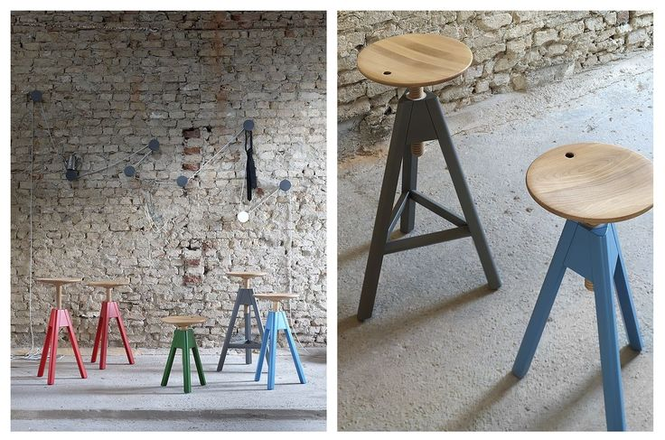 VITO Stool by Miniforms available in 3 different heights. Seat made in wooden beech. Structure in wood or painted. http://www.miniforms.com/en/products/3_stools/45_vitos/