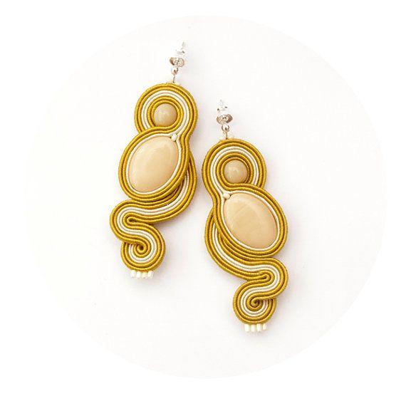 Sunny earrings yellow beige, soutache