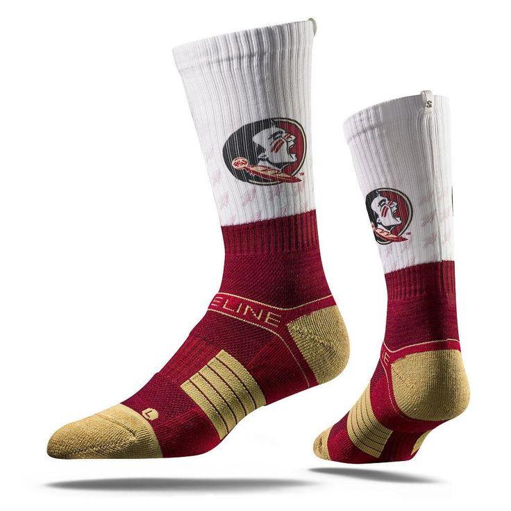 Strideline® 2.0 Split Seminole Florida State White–Garnet–Gold Crew Socks NEW