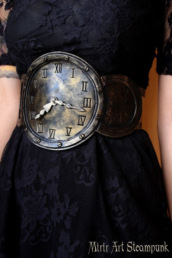 MADE TO ORDER - steampunk watch waist belt / underbust corset . adjustable thanks to the corset closure