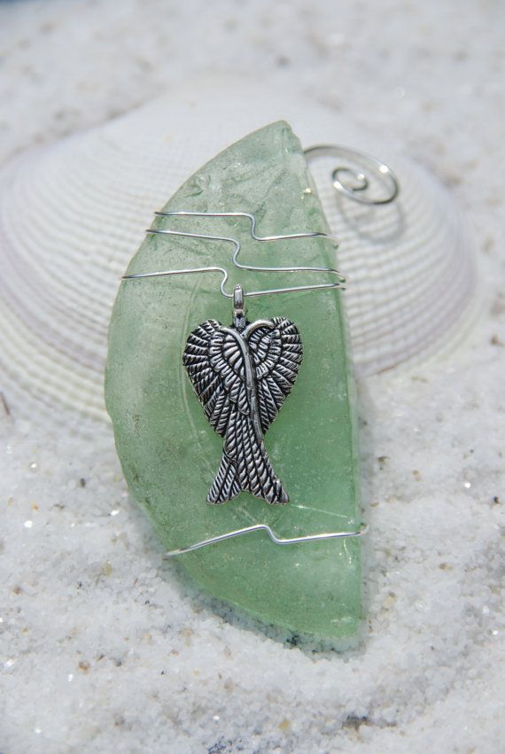 Aqua Sea Glass Ornament with Angel Wings