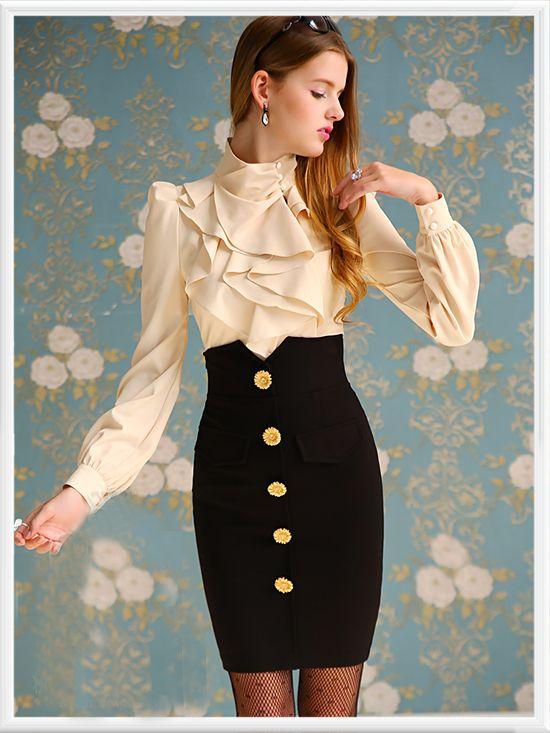 Morpheus Boutique  - Beige Layer Ruffle Long Sleeve Celebrity Shirt, CA$82.04 (http://www.morpheusboutique.com/beige-layer-ruffle-long-sleeve-celebrity-shirt/)