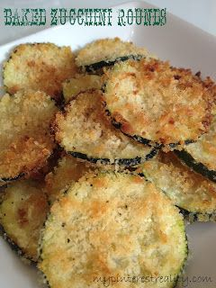 Baked Zucchini Rounds--1 lb. zucchini (about 2 medium-sized) 1/4 cup shredded Parmesan  1/4 cup Panko breadcrumbs 1 tablespoon olive oil 1/4 teaspoon kosher salt freshly ground pepper, to taste  1. Preheat oven to 400 degrees. 9. Bake for about 22 to 27 minutes, until golden brown. They'll crisp on both sides so no need to flip.