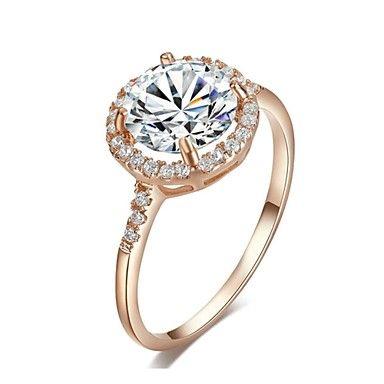 18k oro rosa plateado cortar suizo anillo de compromiso de diamantes de halo zirconia cúbica – USD $ 11.19