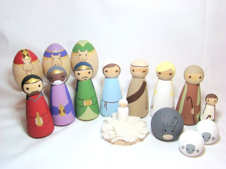 Nativity Set - 16 pc Wood Peg Doll/People Nativity Set Hand Painted. $ ...