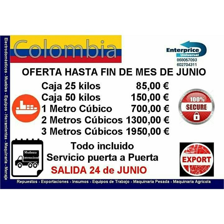 Servicio Transporte Maritimo hacia Colombia desde España