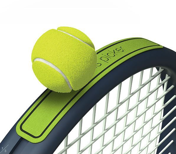 The Tennis Picker is a truly simple and elegant product designed by Korean inventor Yunjo Yu that is essentially a Velcro sticker that attaches to a tennis racket so a player doesn't have to bend d...
