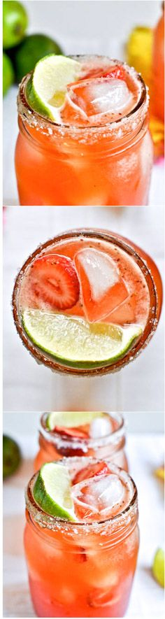 THE BEST FRESH STRAWBERRY MARGARITAS! favorite all-time recipe - it's killer. I howsweeteats.com