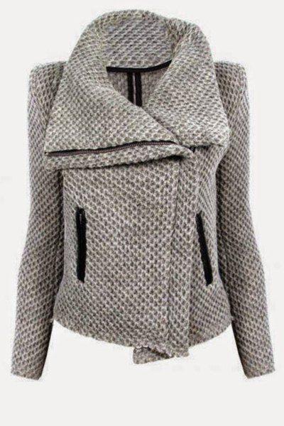 Fresh Style Turn-Down Collar Zippered Mesh Knitted Coat For Women