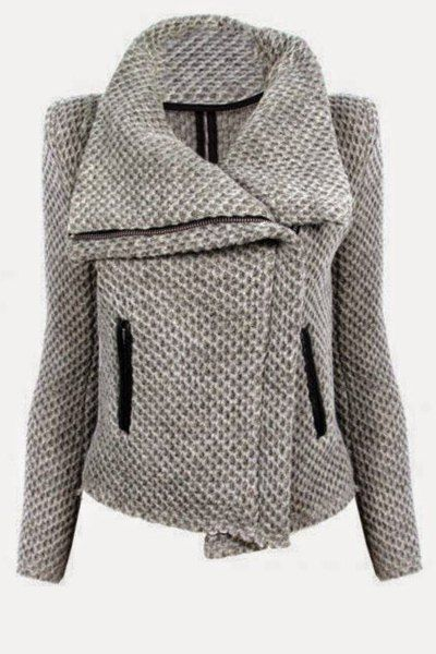 Fresh Style Turn-Down Collar Zippered Mesh Knitted Coat For Women
